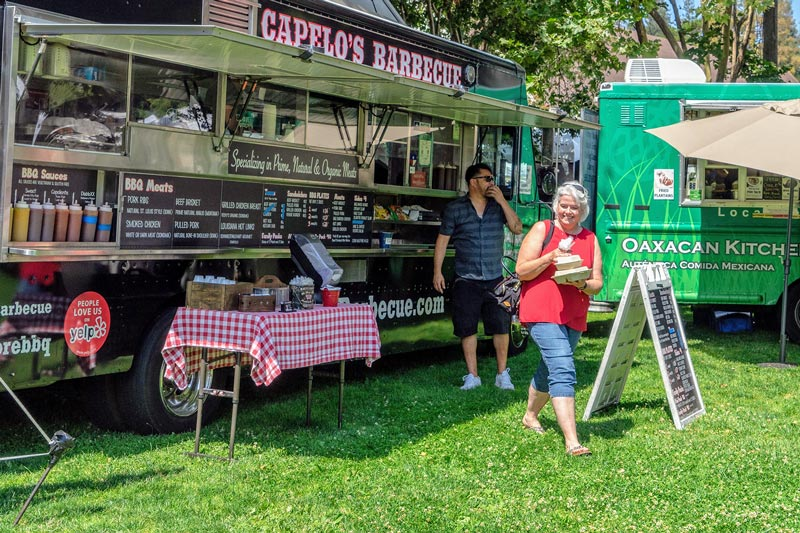 food trucks including Capelo's Barbecue and Oaxacan Kitchen converge for the annual Menlo Park Summer Fest