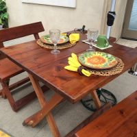 Michael Frazier redwood patio table and chairs