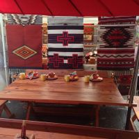 Michael Frazier redwood patio table and bench seats