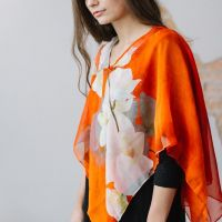 Tina Gleave hand painted silk orange vest
