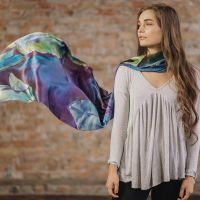 Tina Gleave hand painted silk purple scarf