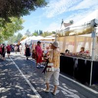 Festival booths on tree-lined street