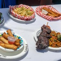 Array of international festival foods